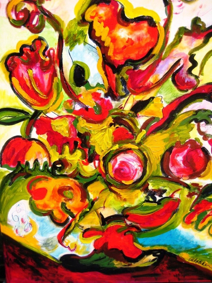 Schipol Tulips, acrylic on canvas 40 x 36
