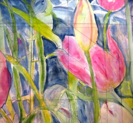 Diebenkorn Loves Tulips, acrylic on gallery canvas, 60 x 60