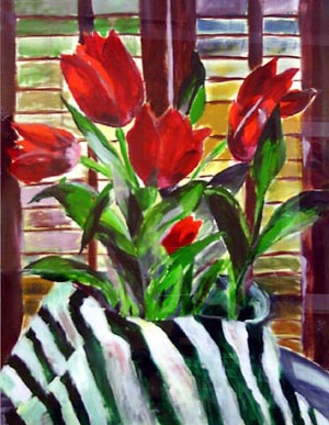 Christina's Tulips, acrylic on paper 28 x 22 SOLD