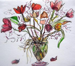 Tulips Celebrating, watercolour and ink on paper 5 x 5.5 SOLD