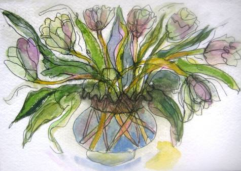 Wedding Tulips, watercolour and ink on paper 5.5 x 8 SOLD