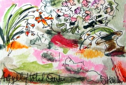 Argyll Hotel Garden, mixed media ink on paper 4 x 6