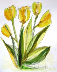 Yellow Tulips, watercolour and mixed media on paper, 12 x 9 SOLD