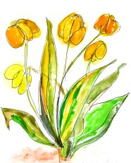Tulips for Tracie, watercolour, 12 x 9 SOLD